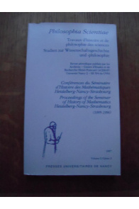 PHILOSOPHIA SCIENTIIAE, TRAVAUX D'HISTOIRE ET DE PHILOSOPHIE DES SCIENCES 1996 VOLUME 2 CAHIER 3